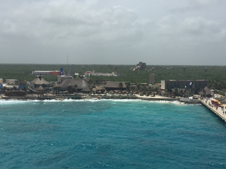 Carnival Fantasy-Costa Maya Shoreline-Waterslide can be seen in far distance June 2017