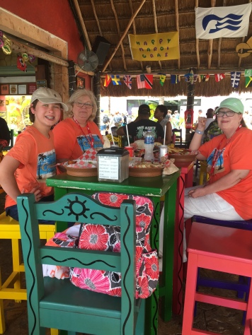 Aunt JuJu, Keiton & Lori Enjoying Lunch in Cozumel