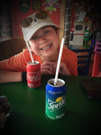 Keiton enjoying Cozumel! Notice our Soda Cans!