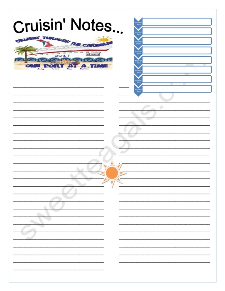 Cruise Notes Printable
