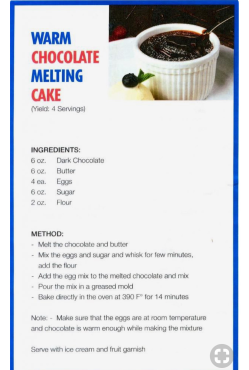 Carnival's Chocolate Melting Cake Recipe