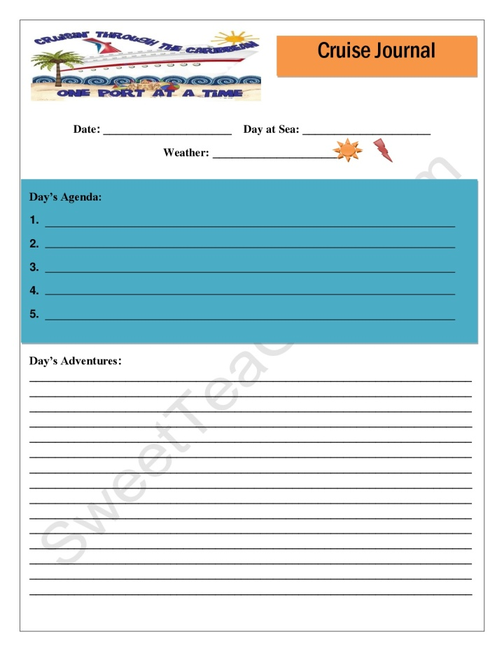 Cruise Journal Free Printable-pg 1
