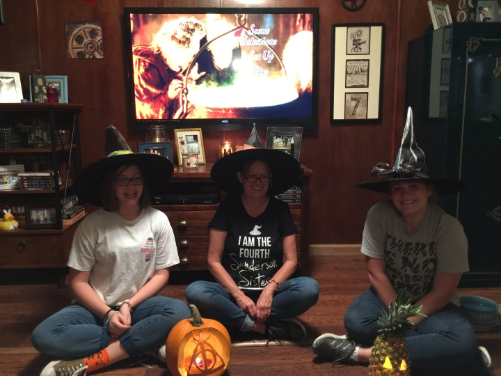 Hocus Pocus Party-Movie Time with DYI Witch Hats and Pumpkins Carved